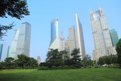 Park in lujiazui financial center, Shanghai, China Royalty Free Stock Image