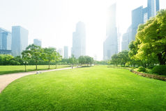 Park in  lujiazui financial centre, Shanghai Royalty Free Stock Photos