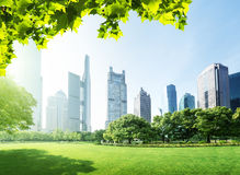 Park in  lujiazui financial centre, Shanghai Stock Images