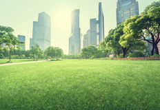 Park in lujiazui financial centre, Shanghai Stock Photo