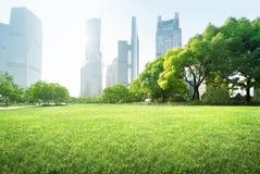 Park in lujiazui financial centre, Shanghai Stock Photos