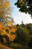 Park in Luxembourg with view of tower Royalty Free Stock Photography
