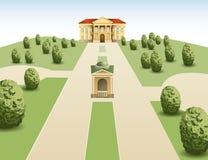 Park mansion vector. Park mansion on summer day, vector stock illustration
