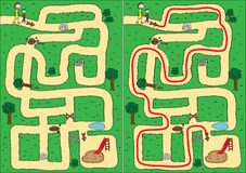 Park maze. Easy park maze for kids with solution royalty free illustration