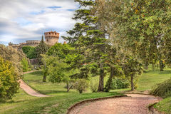 Park with medieval castle in Volterra, Tuscany, Italy Royalty Free Stock Images