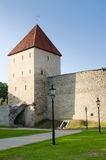 Park at medieval towers of Tallinn Royalty Free Stock Images