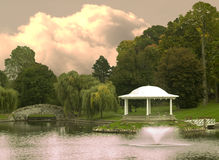 Park met gazebo toneel Stock Fotografie
