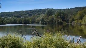 Park met meer en bomen in Normandië, Frankrijk stock videobeelden