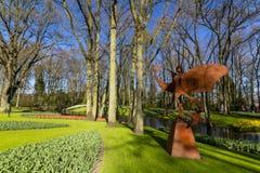 Park met multi-colored de lentebloemen met pond Stock Afbeeldingen