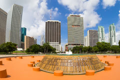 Park in Miami with a view of the city skyline Royalty Free Stock Images