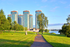 Park in microdistrict Ribatskoe. Stock Image