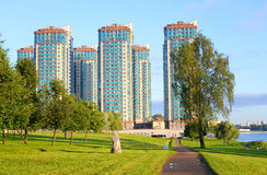 Park in microdistrict Ribatskoe. Royalty Free Stock Images