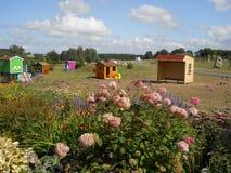 Park mit Bäumen und Blumen Lizenzfreies Stockbild