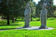 Park mit chinesischen Statuen Stockbild