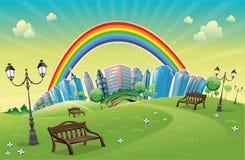 Park mit Regenbogen. Lizenzfreies Stockfoto
