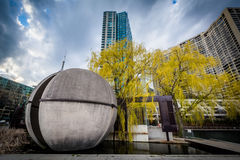 Park and modern buildings at the Harbourfront in Toronto, Ontari. O Stock Images