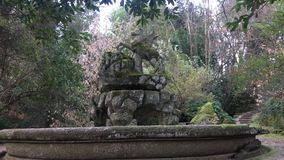 Park of the Monsters, Sacred Grove, Garden of Bomarzo. Fountain called Pegasus, the winged horse stock video