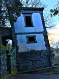 Park of Monsters, Sacred Grove, Garden of Bomarzo. Leaning house and fascination royalty free stock photo