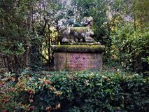 Park of the Monsters, Sacred Grove, Garden of Bomarzo. Sphinx, vegetation and alchemy. Park of the Monsters, Sacred Grove, Garden of Bomarzo, a Manieristic stock images