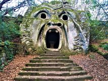 Park of the Monsters, Sacred Grove, Garden of Bomarzo. Orcus mouth and alchemy stock image