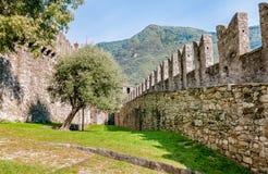 Park of Montebello Castle, Bellinzona, Switzerland. Park of Montebello Castle, Bellinzona, Ticino, Switzerland Royalty Free Stock Images