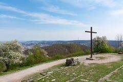 Park-Monument-Standort Birkenkopf Stuttgart übersehen Ansicht Panora Lizenzfreies Stockfoto