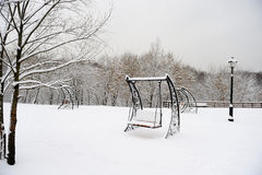 Park in Moscow after heavy snow Stock Image