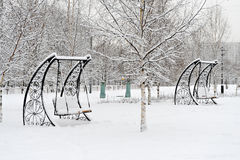 Park in Moscow after heavy snow Stock Photo