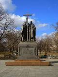 Park in Moscow. View of orthodox monument in park on March 14, 2016 in Moscow, Russia Royalty Free Stock Image