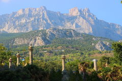 Park and the mountains near the Vorontsov Palace, Crimea. Royalty Free Stock Photography