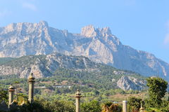 Park and the mountains near the Vorontsov Palace, Crimea. Royalty Free Stock Images