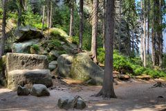 Park Narodowy Adrspach-Teplice skały Rockowy miasteczko cesky krumlov republiki czech miasta średniowieczny stary widok Obrazy Royalty Free