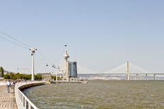 Park of Nations and Vasco da Gama bridge in Lisbon Stock Photos