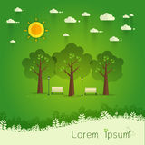 Park. Natural landscape in the flat style. a beautiful par. Hello Park. Natural landscape in the flat style. a beautiful park.Environmentally friendly natural Royalty Free Stock Photos