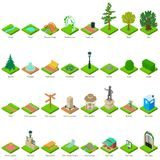 Park Nature Elements Icons Set, Isometric Style Royalty Free Stock Photography