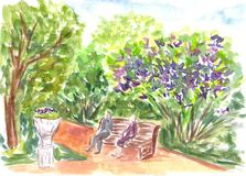Park, nature, outdoor.  Hand drawn sketch. Vibrant watercolor painting. Colorful artwork Watercolour landscape with trees. And bushes. Aquarelle bright Royalty Free Stock Image