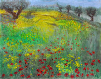 Park, Nature, Trees, Grass and a Field full of Poppy Flowers. A textured oil pastel drawing of an open field full of red Poppy Flowers along with grass, trees Stock Image