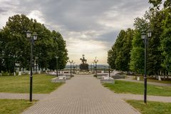 Park near the Assumption Cathedral in Vladimir, Russia. Travel Royalty Free Stock Image