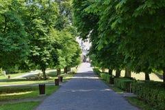 The park near castle Cerveny Kamen stock image