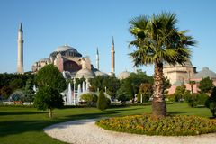 Park near of Holy Wisdom. Park with palm near of Holy Wisdom mosque in Istanbul royalty free stock photo
