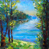 In the park near the lake - Original oil painting on canvas Royalty Free Stock Images