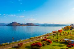 Park near Lake Toya in Toyako town, Hokkaido, Japan. stock photo