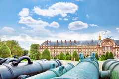 Park near main entrance Les Invalides. Paris, France. Stock Images