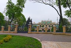 Park near Mariyinsky Palace in Kyiv, Ukraine. It is the official ceremonial residence of the President of Ukraine. Famous touristic place and romantic travel stock photos