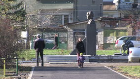 In a park near the monument to Academician Likhachev in Sofia, Bulgaria stock video footage