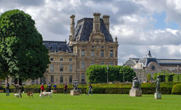 Park near the palace of the Tuileries walk with a dog royalty free stock photography