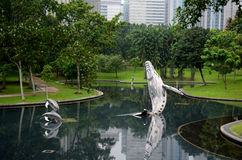 Park near the Petronas Twin Towers Stock Photo