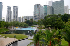 Park near the Petronas Twin Towers Royalty Free Stock Images