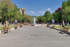 Park near the Yerevan Vernissage. YEREVAN, ARMENIA - MAY 02, 2015: Park near the Yerevan Vernissage. On straight located the Vernissage, the large open-air Royalty Free Stock Images