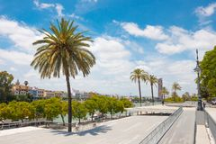 Park next to the river Guadalquivir River in Seville, Spain stock photography
